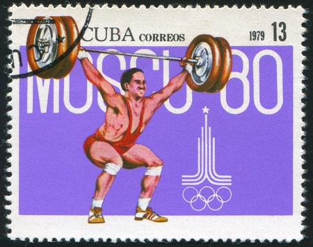summer olympics: CUBA - CIRCA 1979: stamp printed by Cuba, shows Summer Olympics, Weight lifting, circa 1979