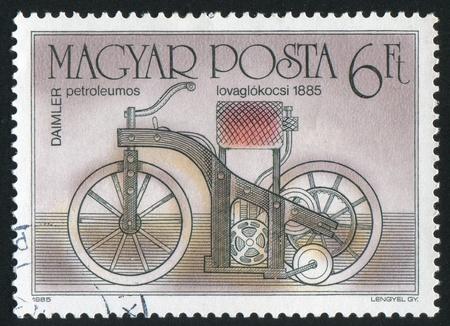 HUNGARY - CIRCA 1985: stamp printed by Hungary, shows motorbike, circa 1985 photo