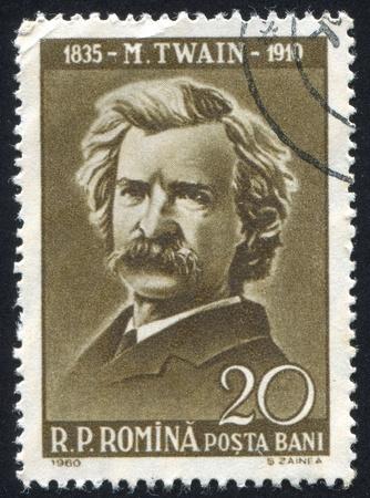 ROMANIA - CIRCA 1960: stamp printed by Romania, show Mark Twain, circa 1960.