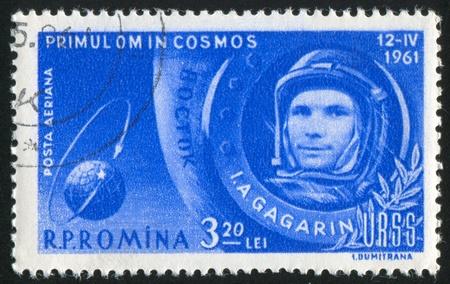 gagarin: ROMANIA - CIRCA 1961: stamp printed by Romania, show Yuri Gagarin, circa 1961.