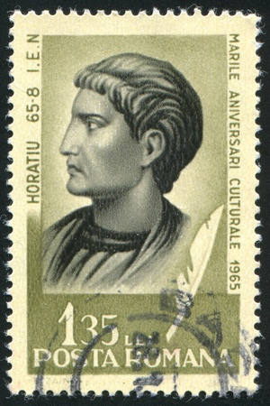 horace: ROMANIA - CIRCA 1965: stamp printed by Romania, show Horace, Roman poet, circa 1965. Editorial