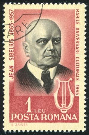 sibelius: ROMANIA - CIRCA 1965: stamp printed by Romania, show Jean Sibelius, Finnish composer, circa 1965. Editorial