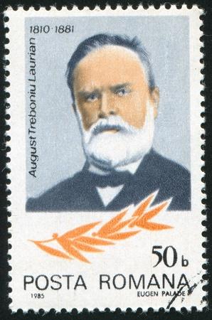linguist: ROMANIA - CIRCA 1985: stamp printed by Romania, show August Laurian, circa 1985. Editorial
