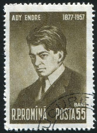 ady: ROMANIA - CIRCA 1957: stamp printed by Romania, show Endre Ady, circa 1957.
