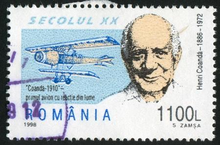 coanda: ROMANIA - CIRCA 1998: stamp printed by Romania, show Henri Coanda, circa 1998.
