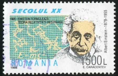 ROMANIA - CIRCA 1998: stamp printed by Romania, show Albert Einstein, theory of relativity, circa 1998.