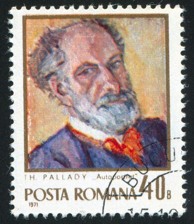 theodor: ROMANIA - CIRCA 1971: stamp printed by Romania, show Theodor Pallady, circa 1971.