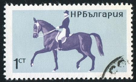 jackboots: BULGARIA - CIRCA 1965: stamp printed by Bulgaria, shows Horsemanship, Dressage, circa 1965 Stock Photo