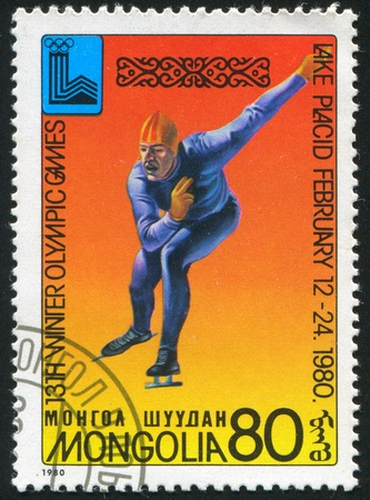 MONGOLIA - CIRCA 1980 stamp printed by Mongolia, shows Lake Placid 80 Emblem, Speed skating, circa 1980 Stock Photo - 10183810