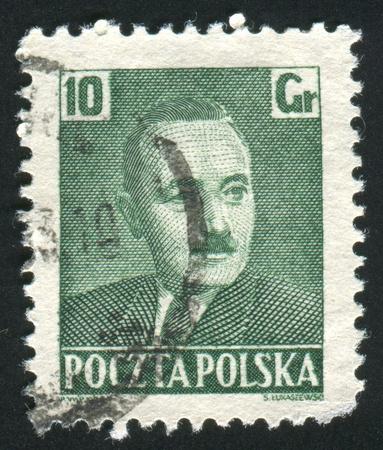 POLAND - CIRCA 1950: stamp printed by Poland, shows Pres. Boleslaw Bierut, circa 1950 Stock Photo - 10183940
