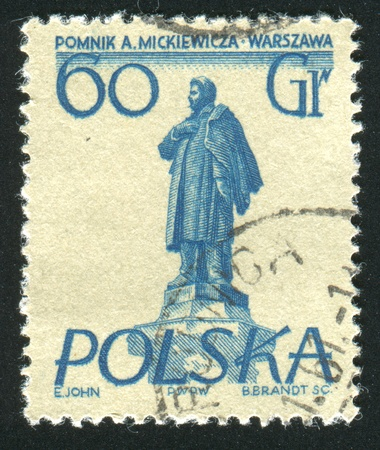 mickiewicz: POLAND - CIRCA 1955: stamp printed by Poland, shows Warsaw monuments, Adam Mickiewicz, circa 1955 Stock Photo