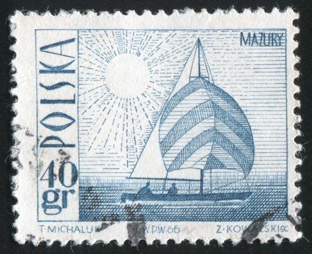 POLAND - CIRCA 1966: stamp printed by Poland, shows Amethyst yacht on Masurian Lake, circa 1966 Stock Photo - 10183952