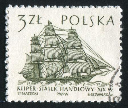 POLAND - CIRCA 1963: stamp printed by Poland, shows Sailing Ships, 19th century merchantman, circa 1963