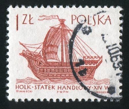 POLAND - CIRCA 1963: stamp printed by Poland, shows Ancient Ships, 14th century Holk, circa 1963