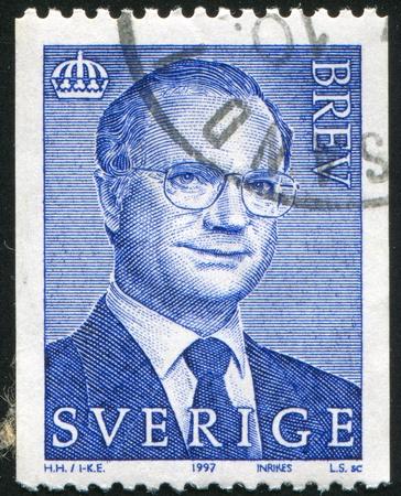 king carl xvi gustaf: SWEDEN - CIRCA 1997: stamp printed by Sweden, shows King Carl XVI Gustaf, circa 1997.