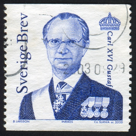 gustaf: SWEDEN - CIRCA 2000: stamp printed by Sweden, shows King Carl XVI Gustaf, circa 2000.