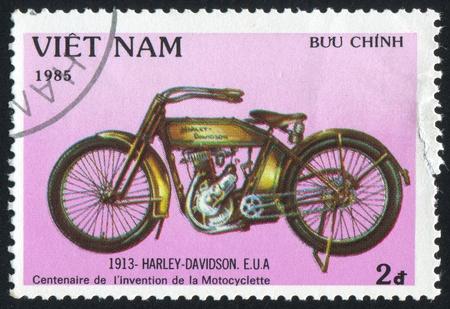 VIET NAM - CIRCA 1985: stamp printed by Viet Nam, shows Harley Davidson, circa 1985 photo