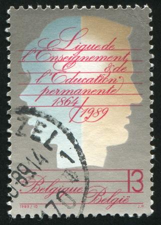 BELGIUM - CIRCA 1989: stamp printed by Belgium, shows Education League, circa 1989 photo