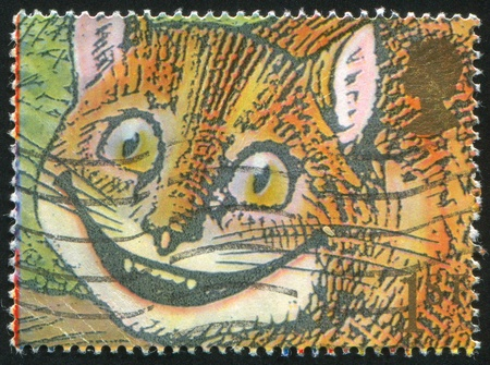 cheshire cat: Gran Breta�a - alrededor de 1991: Sello impreso por Gran Breta�a, muestra el famoso sonrisas, gato de Cheshire, alrededor del a�o 1991