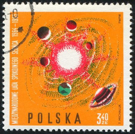 POLAND - CIRCA 1965: stamp printed by Poland, shows Solar system, circa 1965 photo