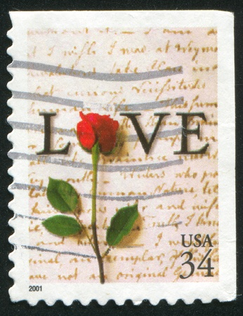 UNITED STATES - CIRCA 2001: stamp printed by United states, shows rose, circa 2001 photo