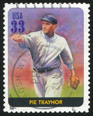 guante de beisbol: Estados Unidos - alrededor del año 2000: Sello impreso por Estados Unidos, muestra béisbol, Pie Traynor, alrededor del año 2000 Editorial