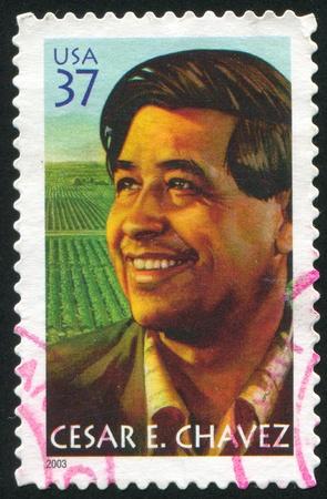 VEREINIGTE STAATEN - CIRCA 2003: Stempel von United States gedruckt, zeigt Cesar E. Chavez, circa 2003 Standard-Bild - 10273143