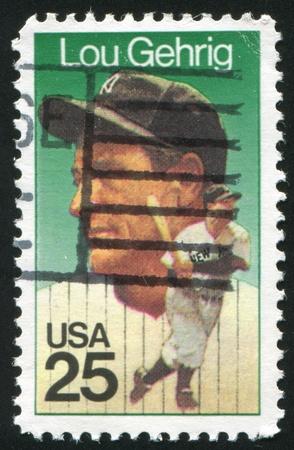 guante de beisbol: Estados Unidos - alrededor del año 2000: Sello impreso por Estados Unidos, muestra béisbol, Lou Gehrig, alrededor del año 2000