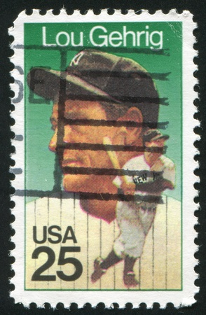 gehrig: UNITED STATES - CIRCA 2000: stamp printed by United states, shows baseball, Lou Gehrig, circa 2000