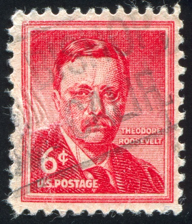 roosevelt: UNITED STATES - CIRCA 1954: stamp printed by United states, shows Theodore Roosevelt, circa 1954 Editorial