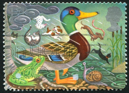 cane collars: GREAT BRITAIN - CIRCA 1991: stamp printed by Great Britain, shows Symbols of Good Luck, Duck, frog, circa 1991 Stock Photo