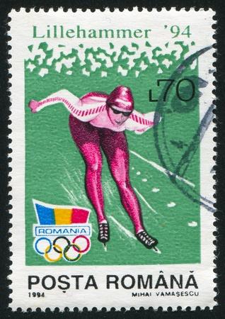 iceskating: ROMANIA - CIRCA 1994: stamp printed by Romania, show ice-skating, circa 1994.