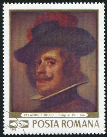 velazquez: ROMANIA - CIRCA 1969: stamp printed by Romania, shows portrait of Filip IV, by Diego Velazquez (1599 - 1660), circa 1969