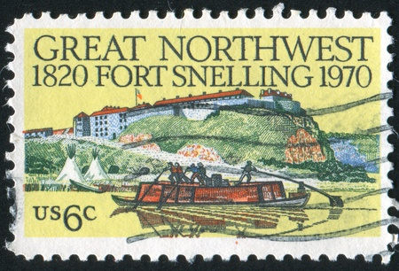 UNITED STATES - CIRCA 1970: stamp printed by United States, shows Fort Snelling and few men floating near it by the river, circa 1970 photo