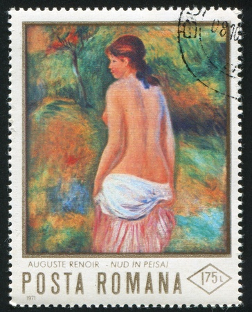 ROMANIA - CIRCA 1971: stamp printed by Romania, shows painting of naked woman by Augusto Renoir (1841 - 1919), circa 1971 photo