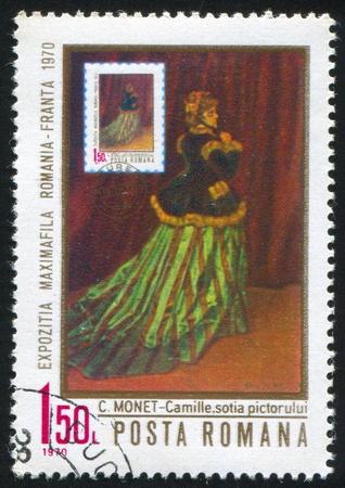 monet: Rumania - alrededor de 1970: Sello impreso por Rumania, muestra retrato de Camilla, de Claude Monet (1840-1926), alrededor de 1970 Editorial