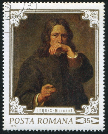 ROMANIA - CIRCA 1970: stamp printed by Romania, shows a portrait of a man by Gonzales Coques  (1618 - 1684), circa 1970
