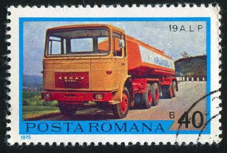 autotruck: ROMANIA - CIRCA 1975: stamp printed by Romania, show truck, circa 1975.