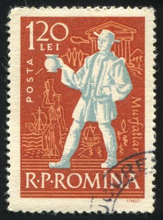 ROMANIA - CIRCA 1960: stamp printed by Romania, shows Wine peasant, Vintner with jug, circa 1960 Stock Photo - 10432736