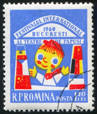 ROMANIA - CIRCA 1960: stamp printed by Romania, shows International Puppet Theater Festival, Puppet, circa 1960 photo