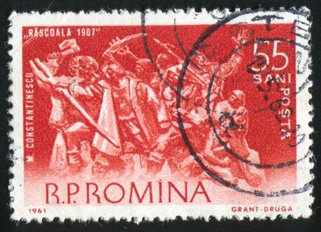 ROMANIA - CIRCA 1961: stamp printed by Romania, shows Peasant Revolt, 1907, M. Constantinescu, circa 1961 Stock Photo - 10432773