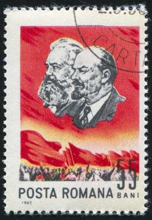 ROMANIA - CIRCA 1965: stamp printed by Romania, shows Marx and Lenin, circa 1965 Stock Photo - 10432725