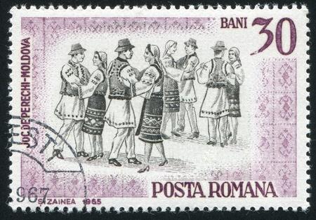 ROMANIA - CIRCA 1966: stamp printed by Romania, shows Folk Dancers of Moldavia, circa 1966 Stock Photo - 10432644