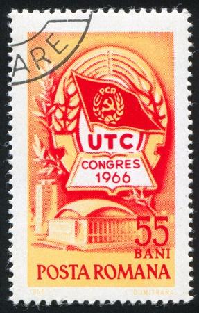 window seal: ROMANIA - CIRCA 1966: stamp printed by Romania, shows Congress Emblem, circa 1966 Stock Photo