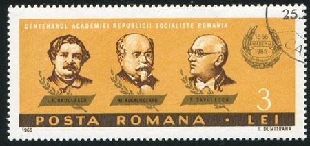 ROMANIA - CIRCA 1966: stamp printed by Romania, shows I. H. Radulescu, M. Kogalniceanu and T. Savulescu, circa 1966 Stock Photo - 10432646