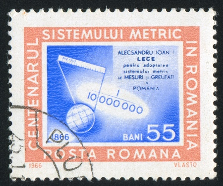 derivation: ROMANIA - CIRCA 1966: stamp printed by Romania, shows Derivation of the Meter, circa 1966