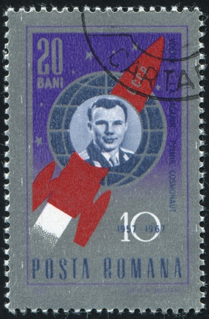 ROMANIA - CIRCA 1967: stamp printed by Romania, shows Yuri A. Gagarin and Vostok 1, circa 1967 Stock Photo - 10432748