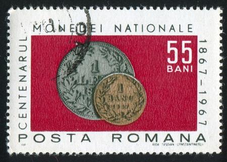 leu: ROMANIA - CIRCA 1967: timbro stampato dalla Romania, mostra Monete del 1867, circa 1967 Archivio Fotografico
