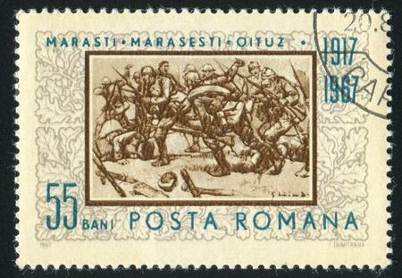 ROMANIA - CIRCA 1967: stamp printed by Romania, shows The Attack at Marasesti, by E. Stoica, circa 1967 photo