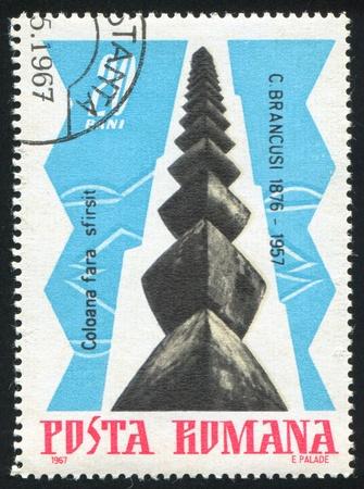 widening: ROMANIA - CIRCA 1967: stamp printed by Romania, shows The Infinite Column, by Brancusi, circa 1967
